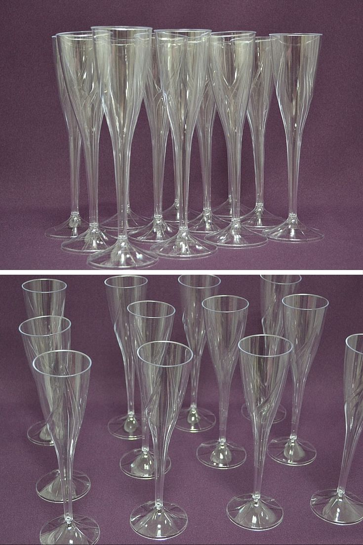 9 Clear One Piece Plastic Champagne Flute Pack Of 60 Wedding Toasting Flutes