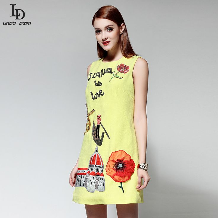 Tank Sleeveless Mini Dress Women Autumn Gold Sequin Appliques Beading Character Pattern Casual Pencil Dress Yellow