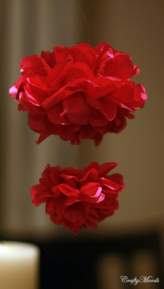 Crafty Moods - Free craft and lifestyle projects resource for all ages: Cascading Garden Pom Poms! Great Wedding or Party Idea!