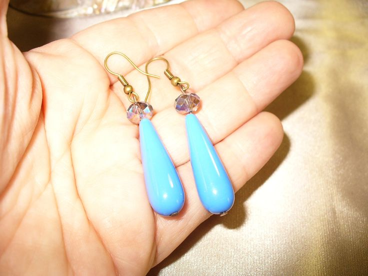 Blue czech bead and crystal Drop Earrings, dangle earrings, blue earrings by anandacollections on Etsy