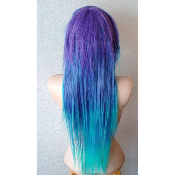 Scene Wig Emo Wig Teal Purple Wig Long Straight Hair Side Bangs Scene... (570 BRL) ❤ liked on Polyvore featuring beauty products, haircare, hair styling tools, hair, hair styles, wigs, blue, hairstyles and filler