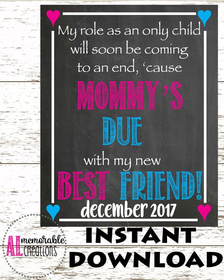 Pregnancy Announcement Photo Prop/Mommy's Due New Best Friend/Expecting Baby Number 2 Chalkboard/Dated December 2017/Pregnancy Chalkboard by ALMemorableCreations on Etsy