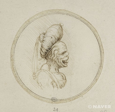 """레오나르도 다 빈치, """"터번을 쓴 그로테스크한 노파"""", 15세기경, 펜(데생)과 갈색 잉크, 루브르 박물관.  몹시 나이가 든 여자가 추하지 않기는 매우 힘든 법이다."""