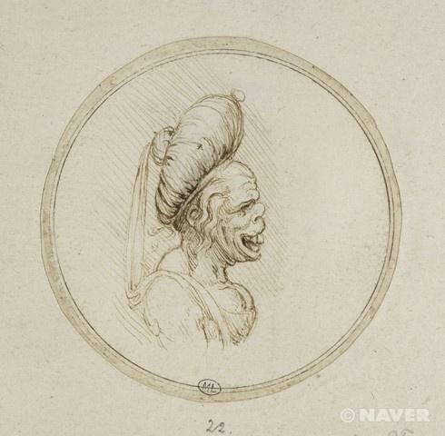 """레오나르도 다 빈치, """"터번을 쓴 그로테스크한 노파"""", 15세기경, 펜(데생)과 갈색 잉크, 루브르 박물관."""