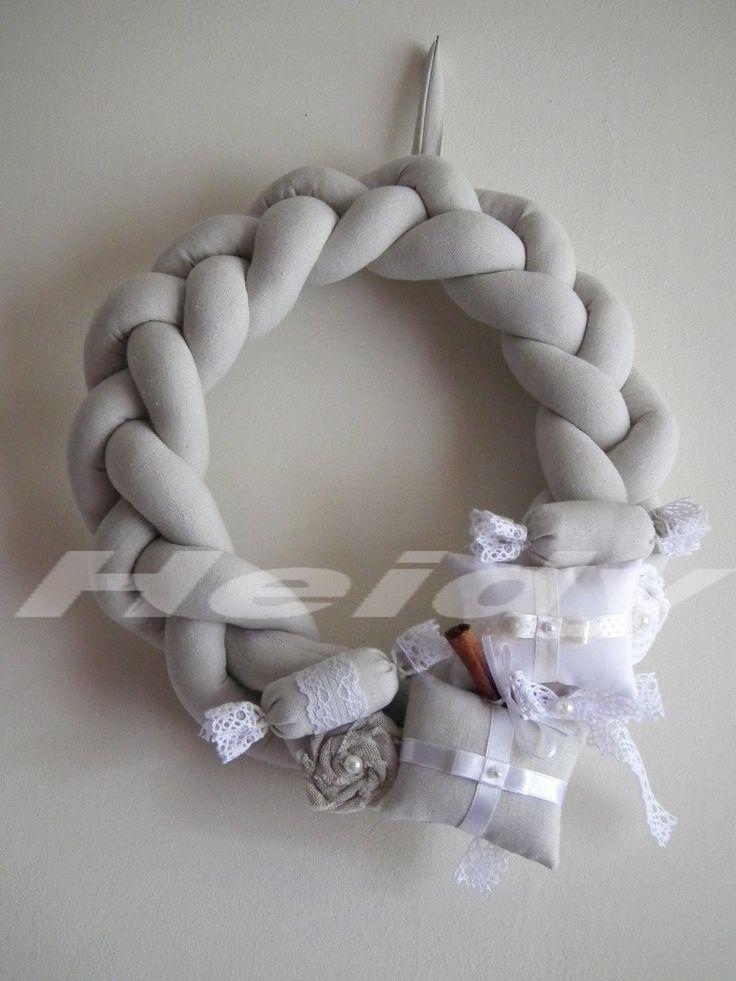 Vintage karácsonyi textil fonott koszorú, ajtódísz lenvászonból - xmas, wreath home decor,