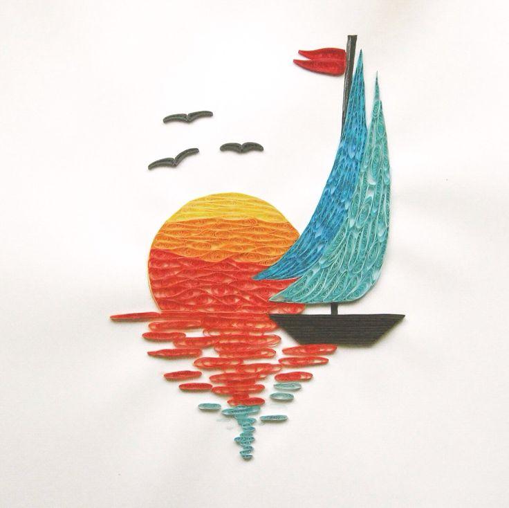 Quill art sailboat