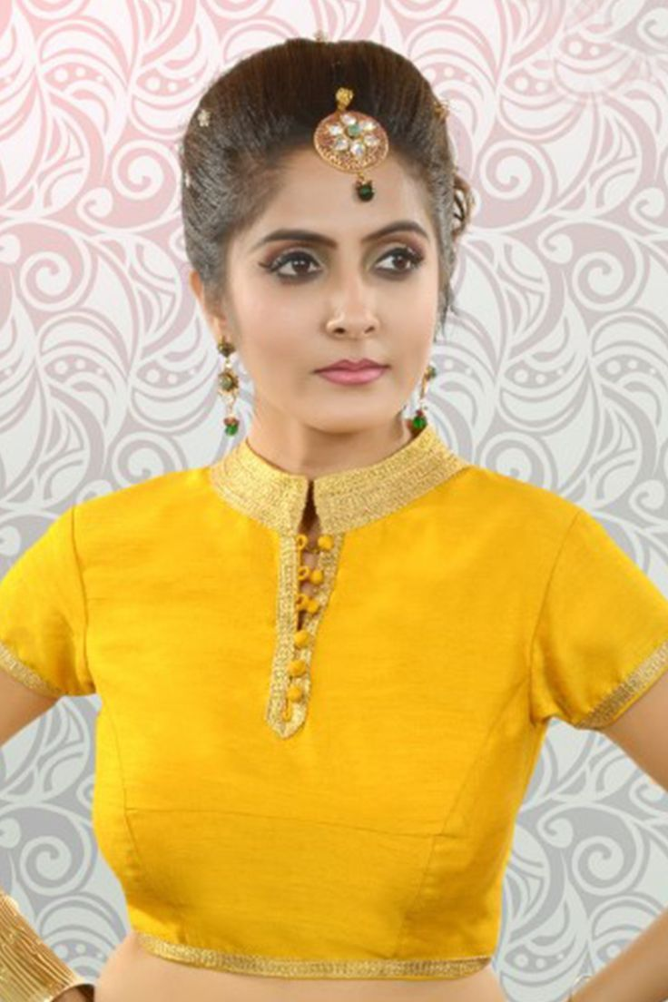 Bright #yellow & #gold silk polished #blouse with chinese collar -BL852