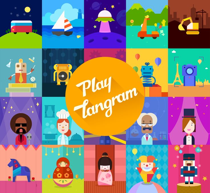 Artwork Inspiration  #PlayTangram #Colorful #Modern #Minimal #Puzzle #Learning #Flat #ios #iphone #Toy #Children #Illustration