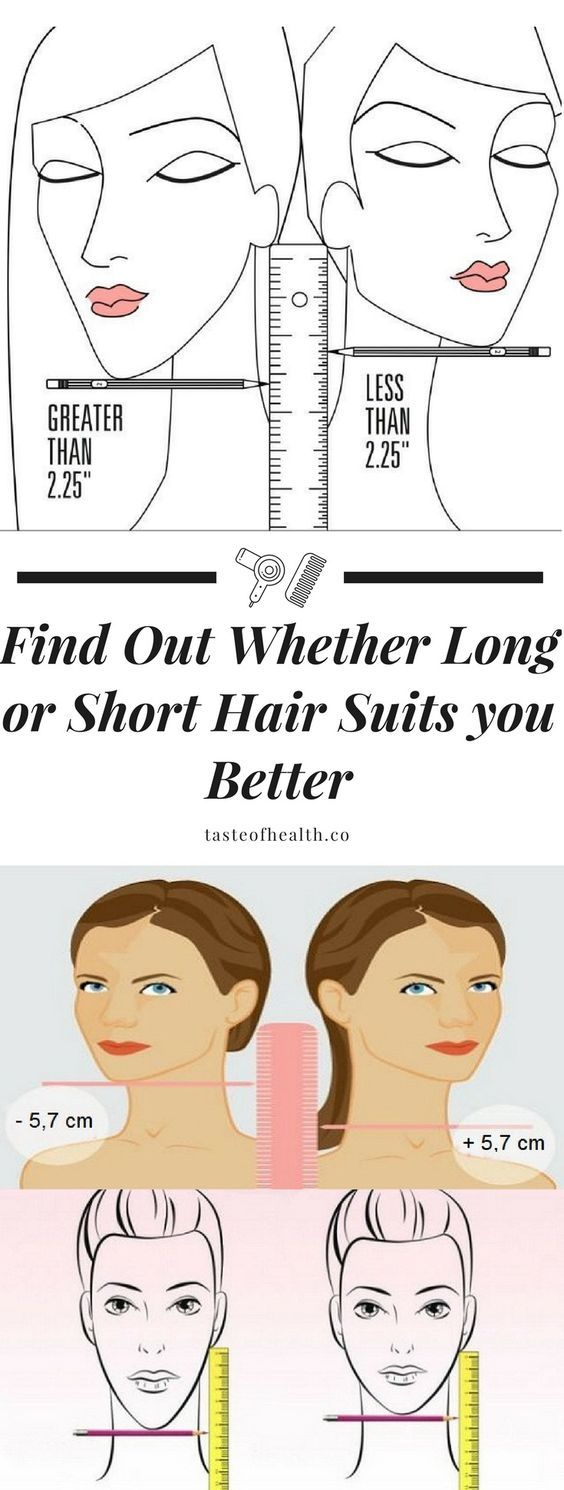 If the distance between the chin and the ear is larger than 5, 7 centimeters, you are better off with long hair. If the distance between these two spots of the face is 5, 7 centimeters or smaller, you will not be wrong if you cut your hair short.