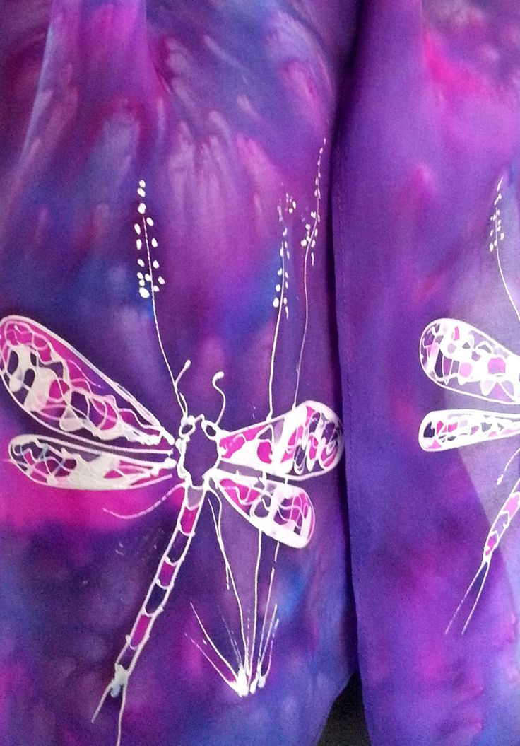 DRAGONFLY, Silk Scarf, New Zealand, Hand painted, Vibrant purple, cerise, Blue, silver, gift Hand painted Silk Scarf.  28cm x 150cm by KiwiSilks on Etsy
