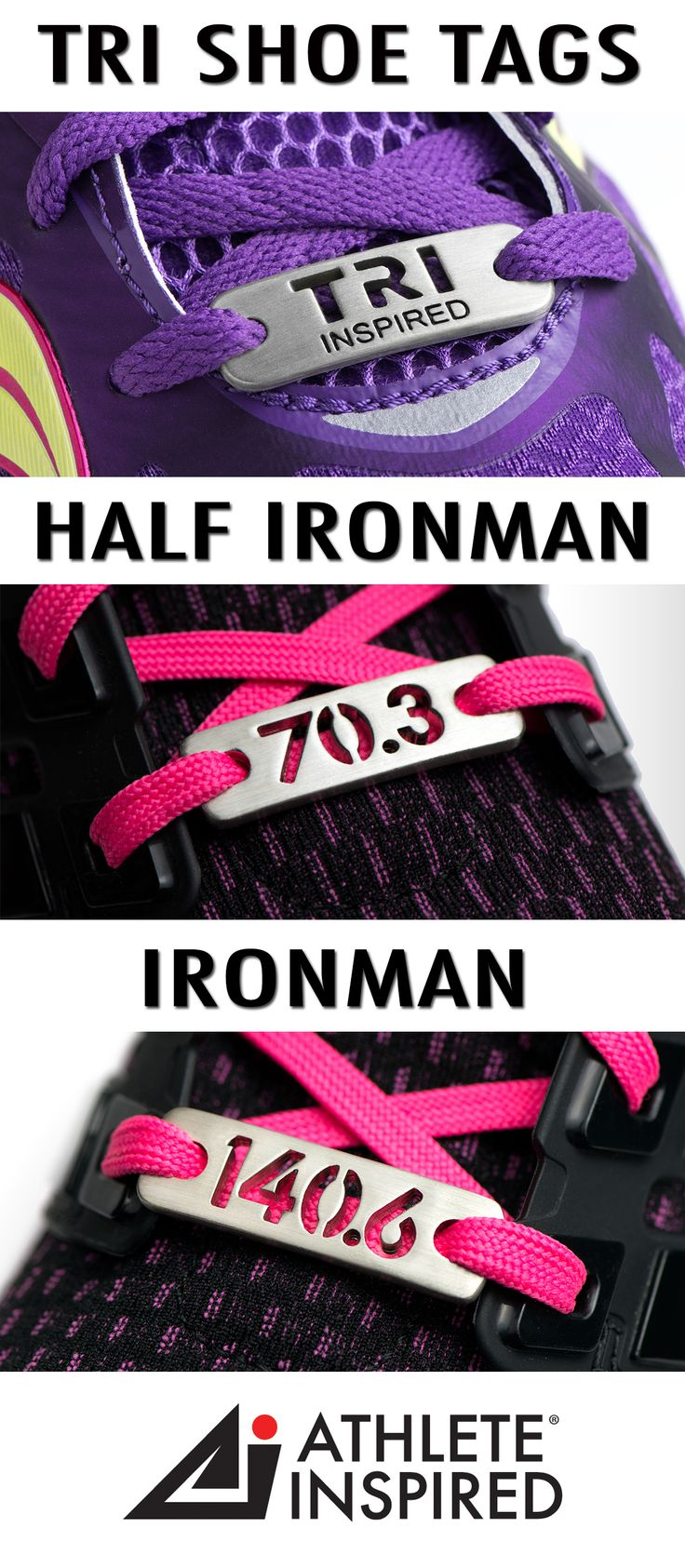 """Show your love for triathlon with this unique, TRI INSPIRED, HALF IRONMAN & IRONMAN shoe tag or shoe charm. You have accomplished the goal—or maybe it is on the horizon! No matter the distance; Sprint, Olympic, Half Ironman 70.3 or Ironman 140.6 """"Wear"""" ever your journey takes you! This unique accessory will be an inspiration to you every time you lace up! Great gift for the triathlete in your life & YOURSELF! #triathlon"""