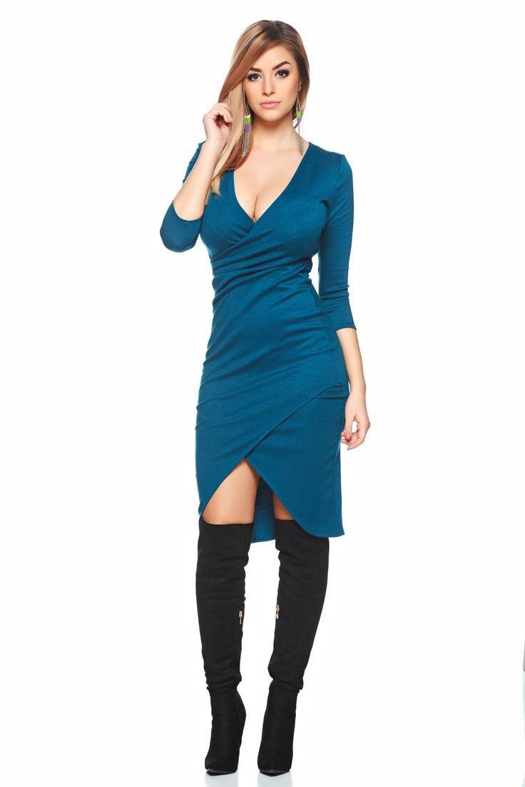 StarShinerS green casual pencil dress deep cleavage, form-fitting, 3/4 sleeves, deep cleavage, elastic fabric