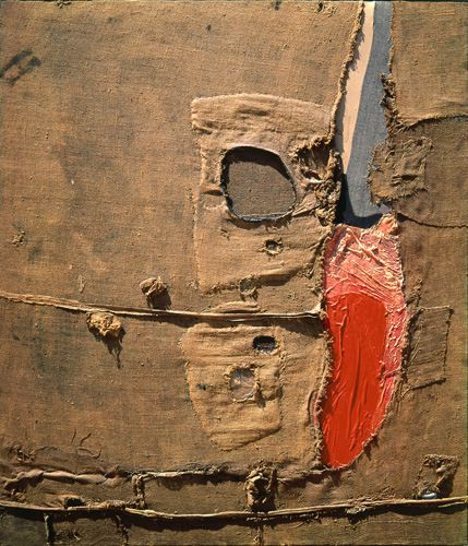 """Alberto Burri (Città di Castello 1915 - Nizza 1995) """"Sacco 5P"""" 1953 ( 149x129,5 Burlap, acrilico, vinavil e tessuto su tela) Fondazione Burri Città di Castello"""