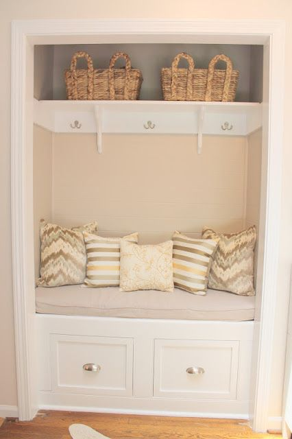 Transforming a hall closet into an entryway bench & storage @Samantha Faircloth this made me think of you.