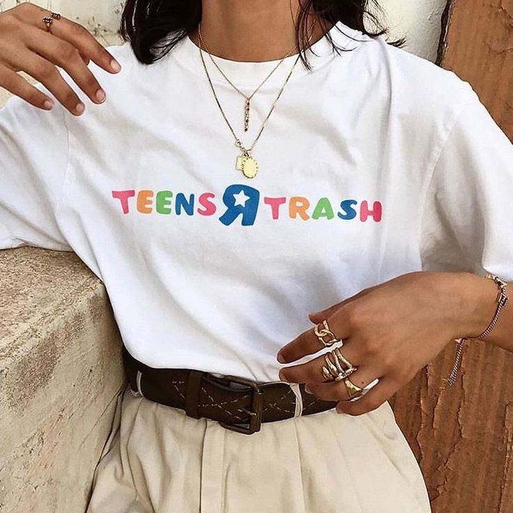Listed on Depop by fourkeeps Teens R trash  Colourful text slogan tshirt  Sizes available small medium large XL XXL Machine washable  100% cotton Smal…