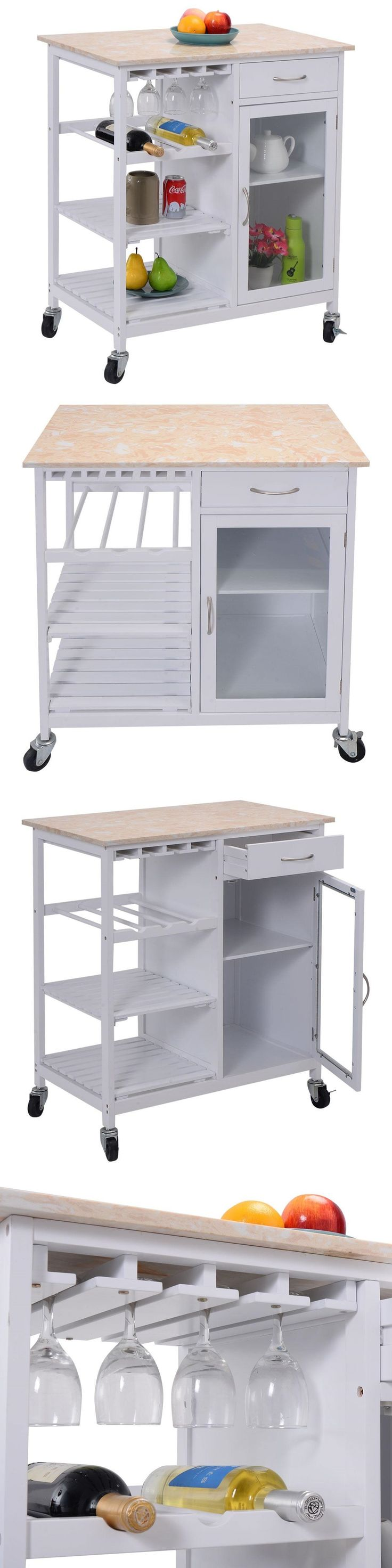 Kitchen Islands Kitchen Carts 115753: Costway Portable Kitchen Island Serving Cart On Wheels Faux Marble Top Cabinet -> BUY IT NOW ONLY: $318.99 on eBay!