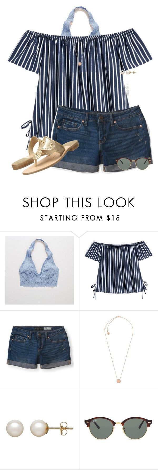 """""""Flying home tomorrow✈️"""" by auburnlady ❤ liked on Polyvore featuring Aerie, Aéropostale, Michael Kors, Honora, Ray-Ban and Jack Rogers"""