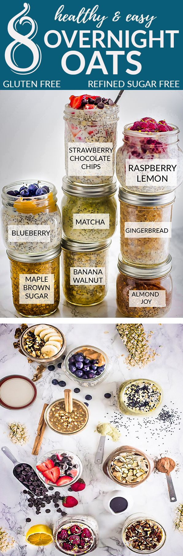 8 Healthy and delicious OVERNIGHT OATS – simple no-cook make-ahead oatmeal just perfect for busy mornings. Best of all, gluten free, refined sugar free and so easy to customize with your favorite flavors. Almond Joy, banana walnut, blueberry, maple brown