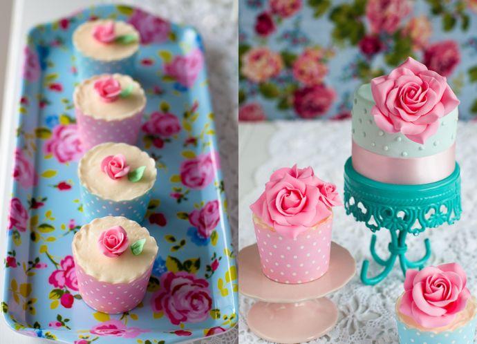 cupcakes9 e1378539224470 Tea party shabby chic in rosa e turchese