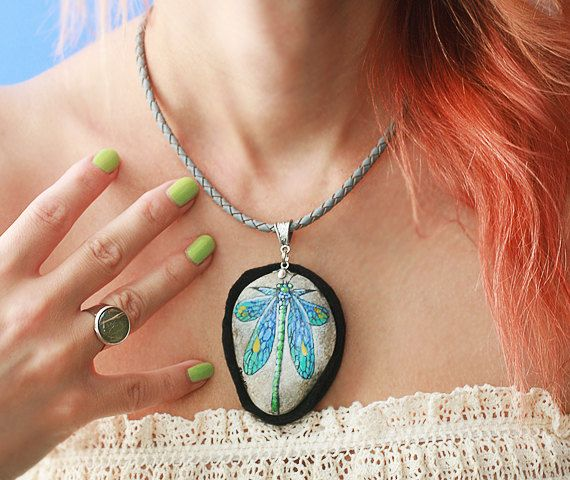 Stone necklace with hand-painted green dragonfly by SkadiaArt