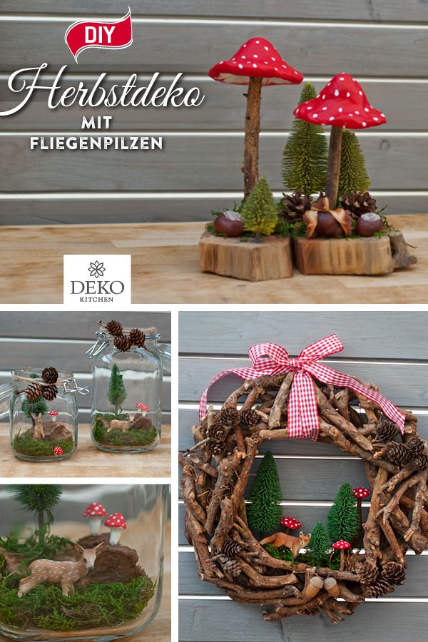 DIY: making beautiful autumn decoys with toadstools  – DIY: hübsche Herbstdeko selbermachen