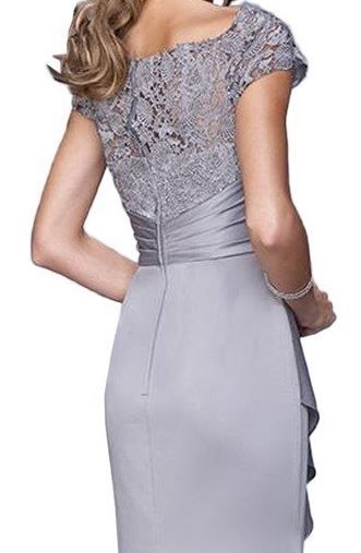 Vienna Bride Elegant Lace Ruffle Evening Gown Mother of the Bride Dress Long grey