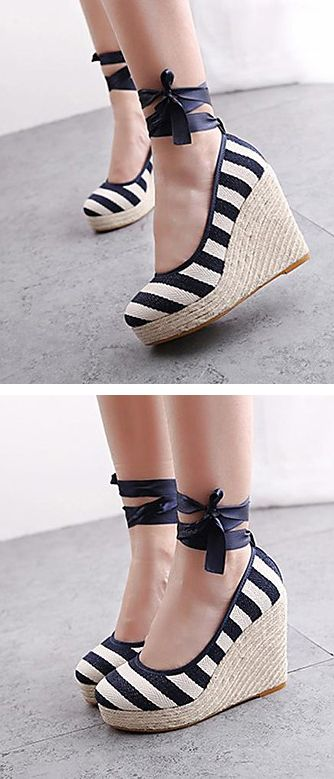 Stripe wedges// Perfect with a white floaty summer dress//