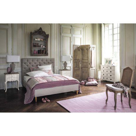 320€ maison du monde - Lit capitonné avec sommier à lattes 140 x 190 cm en bois et lin Chesterfield | Maisons du Monde