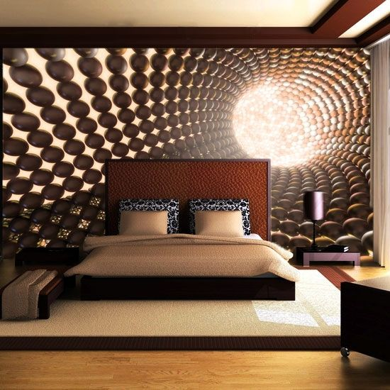 Bedroom photo wallpaper wall mural wallpaper wallmural for Bed wallpaper design