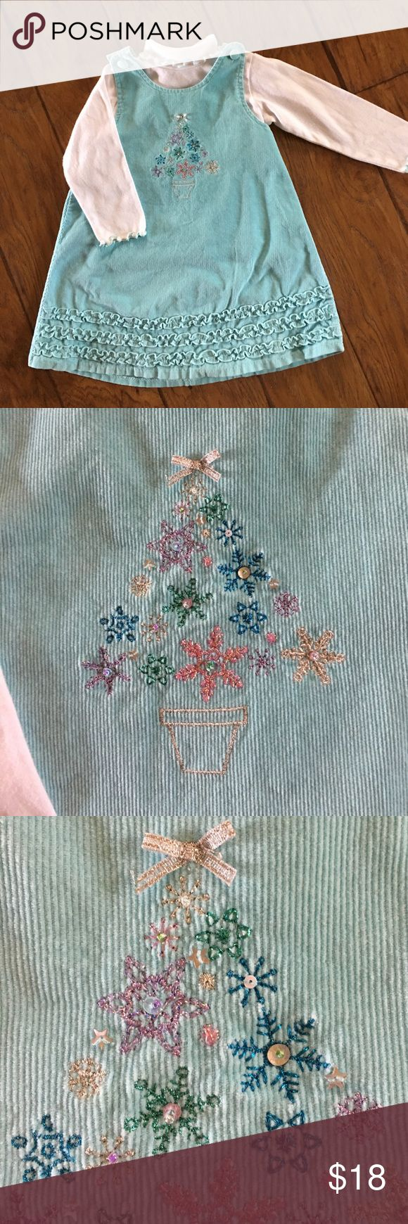 ⭐️VINTAGE LOOK CORDUROY CHRISTMAS JUMPER DRESS ⭐️ EUC, mint green with a bedazzled Christmas tree on dress. Matching unattached turtle neck. So darling 💕 Sophie Rose Dresses Casual
