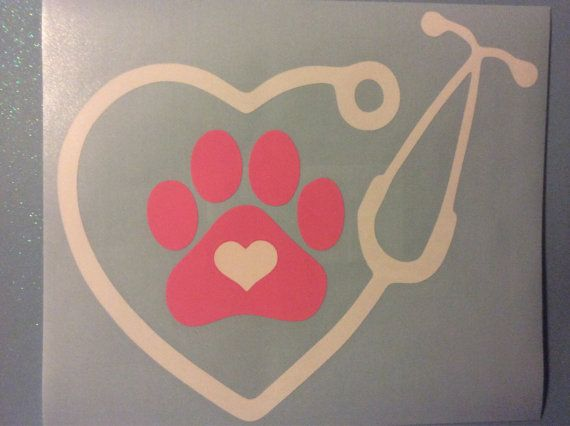 Veterinarian or Vet Tech Stethoscope Vinyl Decal by ChicksDigVinyl