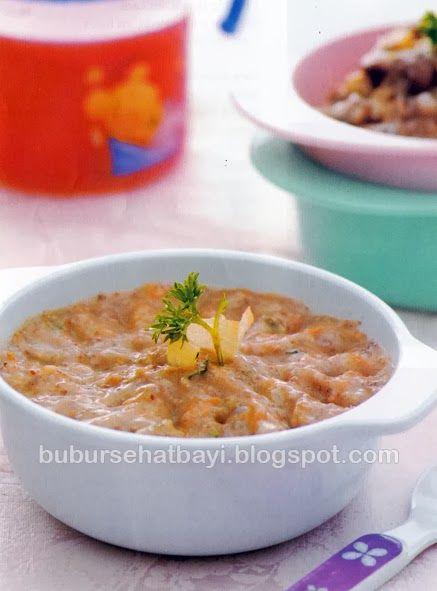 Resep Bubur Seafood Beras Merah Nilai gizi per porsi : Energi  : 129,2 kkl Protein  : 6,3 gram Lemak : 2,8 gram Karbohidrat  : 19,2 gram  Info gizi : Protein dalam udang lebih tinggi daripaada ayam atau daging sapi. Udang juga kaya asam lemak tak jenuh ganda (PUFA), vitamin dan mineral yang baik untuk kesehatan anak