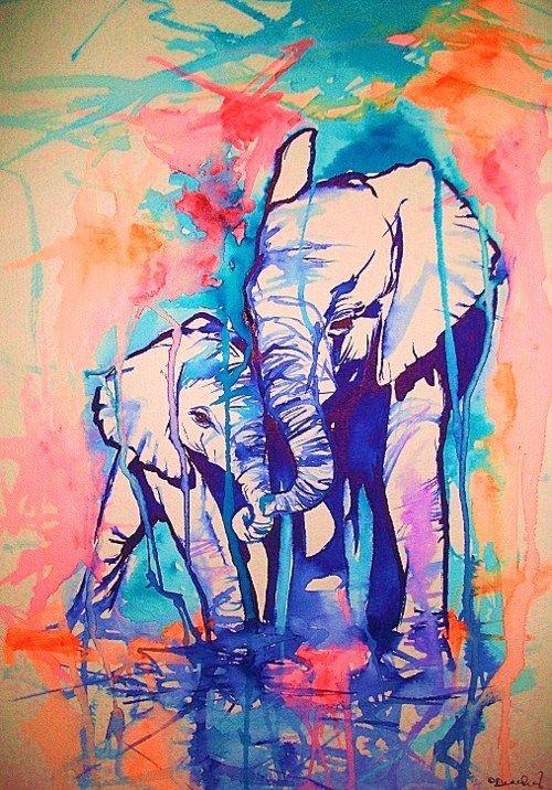 Elephants. Water color tattoo idea? I think yes