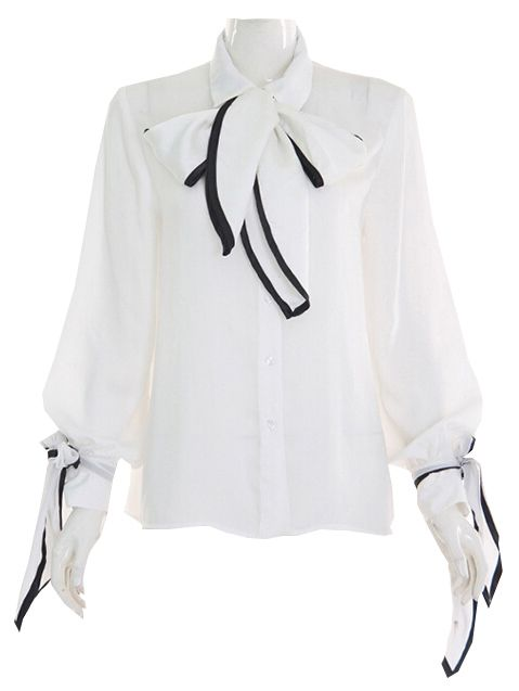Chiffon Bluse Langarm mit Schleife - weiß und schwarz 21.48