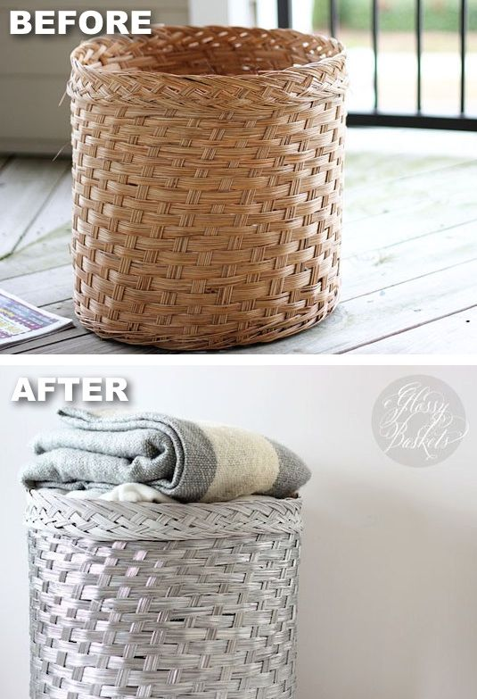 #22. Spray paint baskets for a modern look! -- 29 Cool Spray Paint Ideas That Will Save You A Ton Of Money