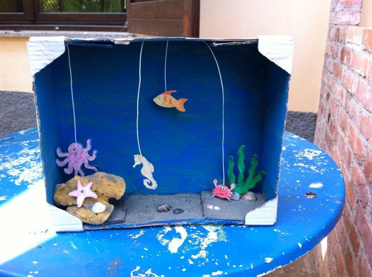 Teatrino acquatico fatto con scatola di cartone, spago, cartoncini, spugna, conchiglie colori (tempere e pastelli) e scotch