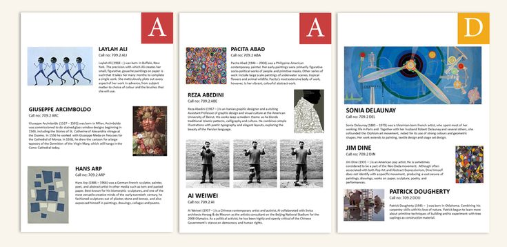 Layout designs for Art brochure