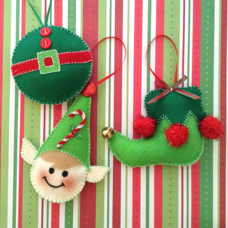 Elf Felt Ornaments / Christmas Elf Tree ornaments / Elf Christmas Decor / Handmade and design in felt ( set of 3 ) by CraftsbyBeba on Etsy https://www.etsy.com/listing/243266723/elf-felt-ornaments-christmas-elf-tree