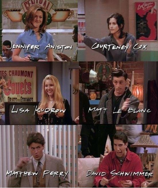 Friends. Jennifer Aniston (Rachel Greene) Courtney Cox (Monica Geller) Lisa Kudrow (Phoebe Buffay) Matt LeBlanc (Joey Tribbiani) Matthew Perry (Chandler Bing) David Schwimmer (Ross Geller)