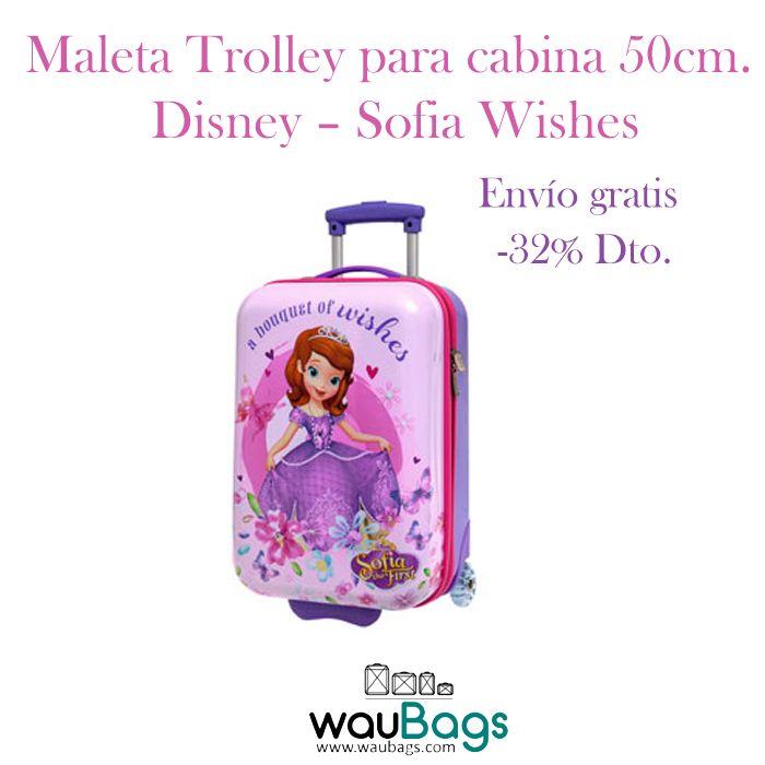 """Consigue la Maleta Trolley Disney """"Sofia Wishes"""" de 50cm. apta para cabina, ahora por tan solo 65€!! @waubags #disney #sofia #sofiawishes #princesas #maleta #trolley #cabina #viaje #niña #waubags"""
