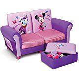 2-Sitzer Kindersofa und Spielzeugtruhe | Kinderhocker | Kinderzimmereinrichtung in rosa | Sofa Minnie Mouse