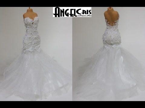 vestido de tecido para noivinhas em biscuit