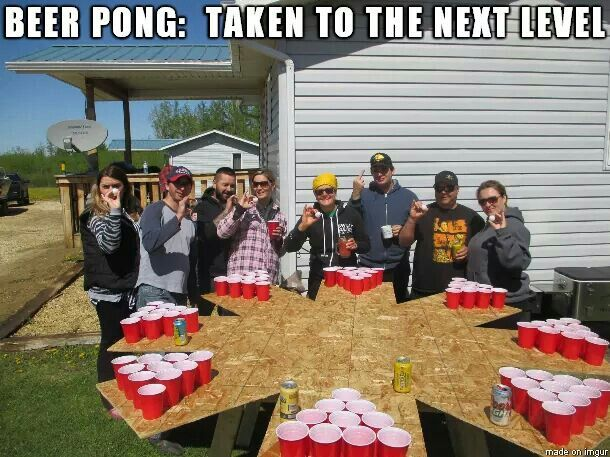 DIY 8 person beer pong table