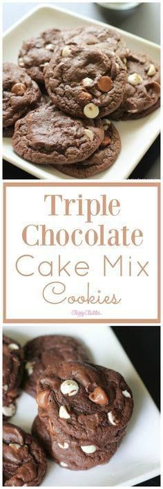 These triple chocola These triple chocolate cake mix cookies are...   These triple chocola These triple chocolate cake mix cookies are AMAZING!! You need to try them out! They are delicious.Click for the recipe http://ift.tt/2z36tD2 Recipe : http://ift.tt/1hGiZgA And @ItsNutella  http://ift.tt/2v8iUYW