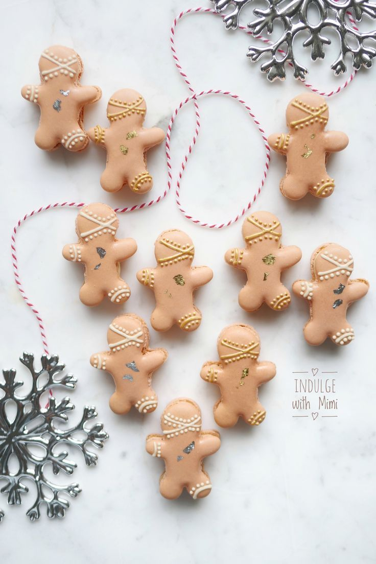 Christmas Gingerbreadmen macarons filled with boozy Baileys Irish Cream filling.