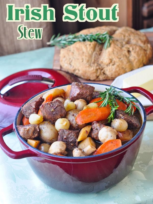 Irish Stout Stew - a slow cooked, deeply flavored, rich stew with a great Irish stout beer as it's base. A whole wheat Irish Soda Bread recipe comes with it but don't restrict this delicious dish just to St. Patrick's Day. It deserves to be enjoyed year round.