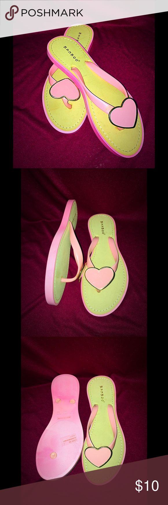 Final price (unless bundled) Heart flip flops Cute heart designed flip flops! Perfect for beach, chilling by the pool or just relaxing or shopping! Size: 7 Shoes Sandals