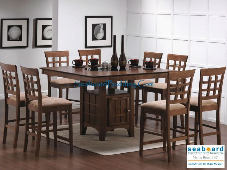 Walnut Counter Height Dining Table With Lazy Susan 8 Stools Set