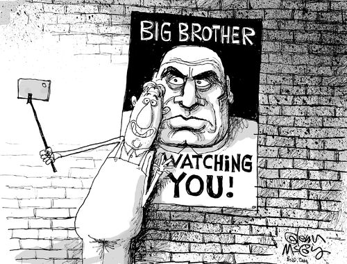 Image result for Orwellian CARTOON