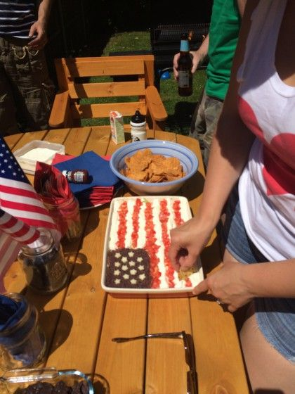 First dip into the flag. Layered Dip for 4th July  - Mrssavageangel